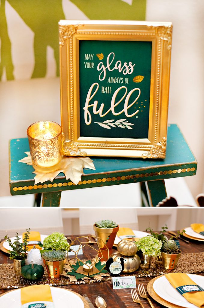 Green and Gold Thanksgiving Table and Decorations