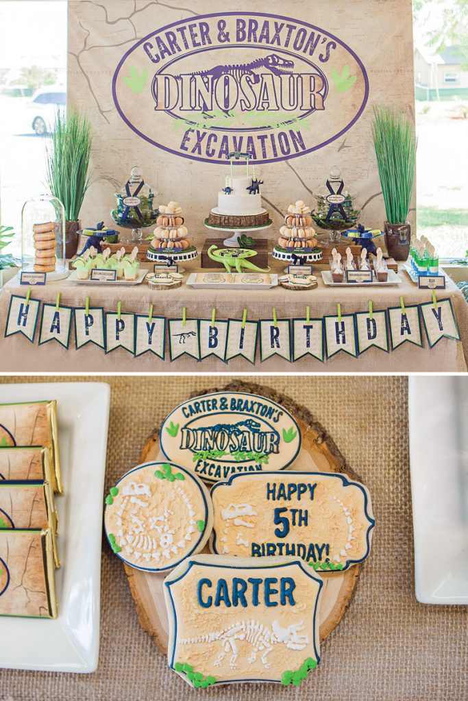 joint dinosaur excavation birthday party dessert table and cookies