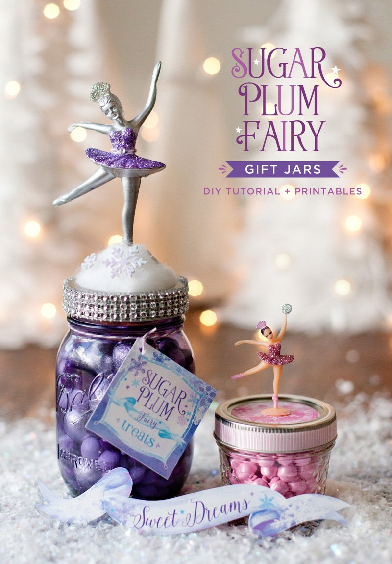 DIY Sugar Plum Fairy Gift Jars and Favor Jars