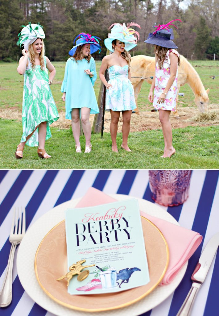 Kentucky Derby Garden Party Style - Hats, Dresses, and Invitation