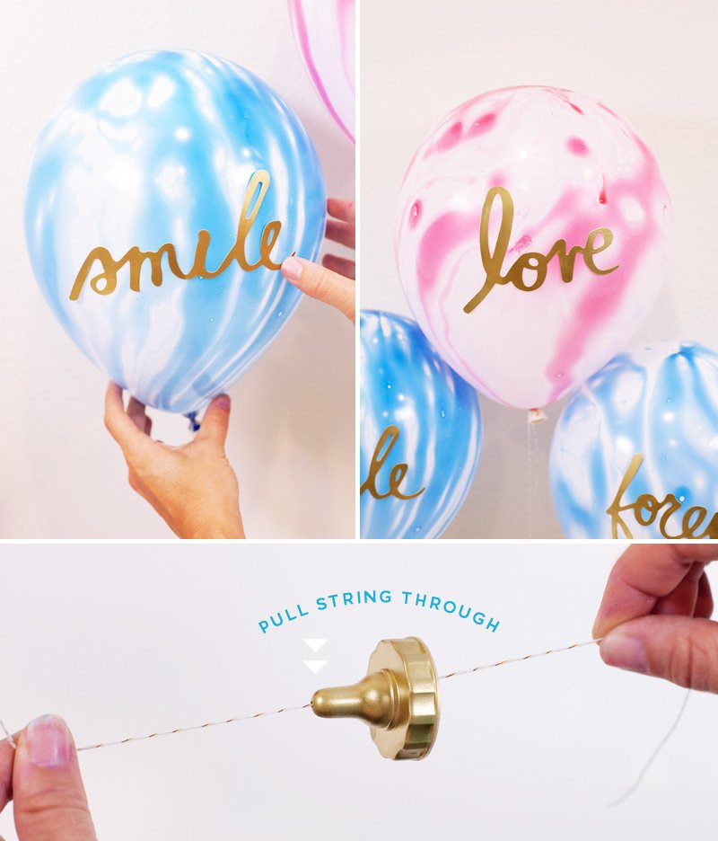 Marbled Balloons with Gold Words
