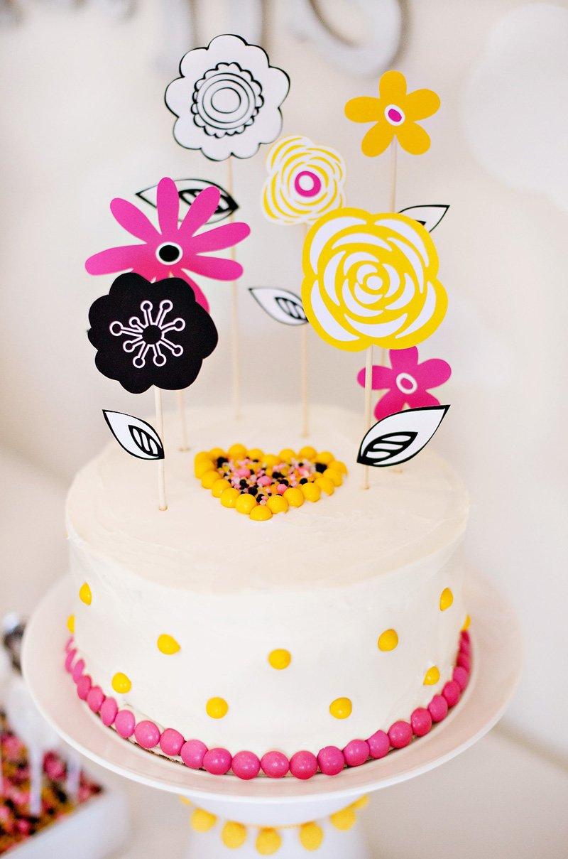 DIY Flower Cake Topper - Pink Yellow Black