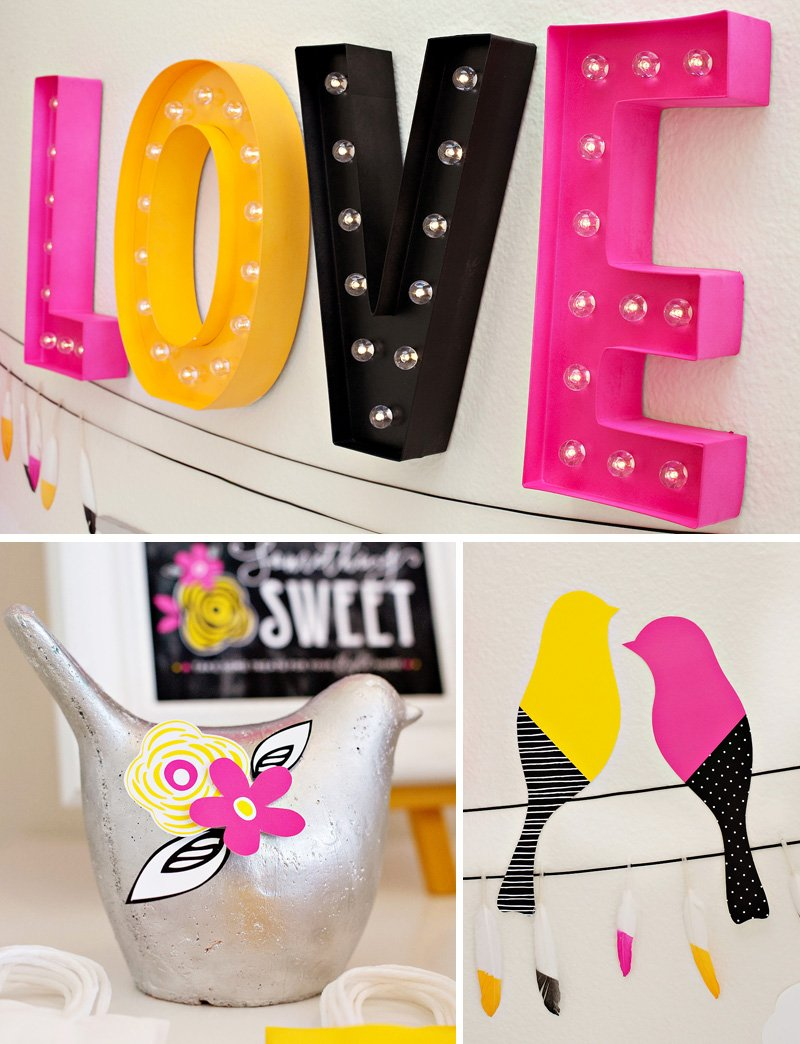 LOVE Marquee Lights - Pink Yellow Black