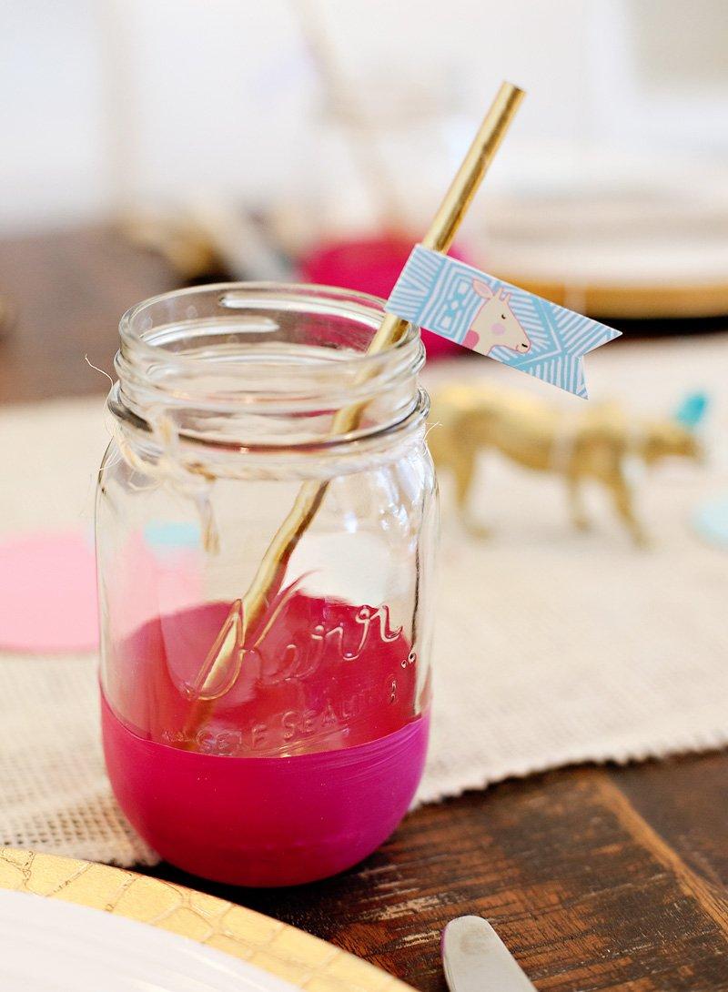 Mason Jar with Safari Giraffe Straw