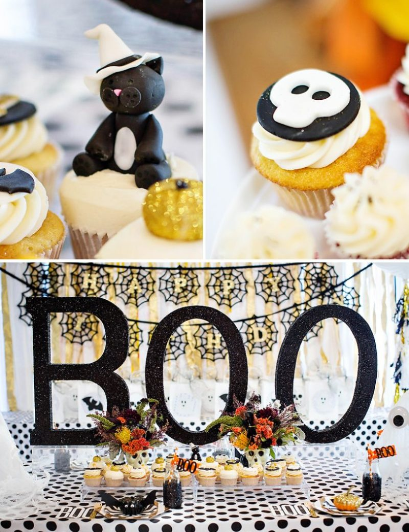 Halloween black cat cupcake topper and glittered BOO letters