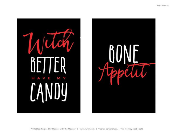 Free Halloween Printables - Bone Appetite + Witch Candy