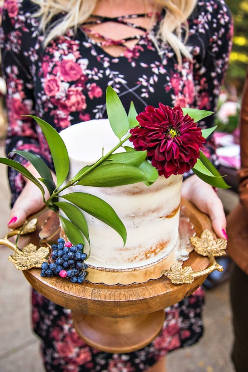 Rustic Glam Cake with fresh flowers