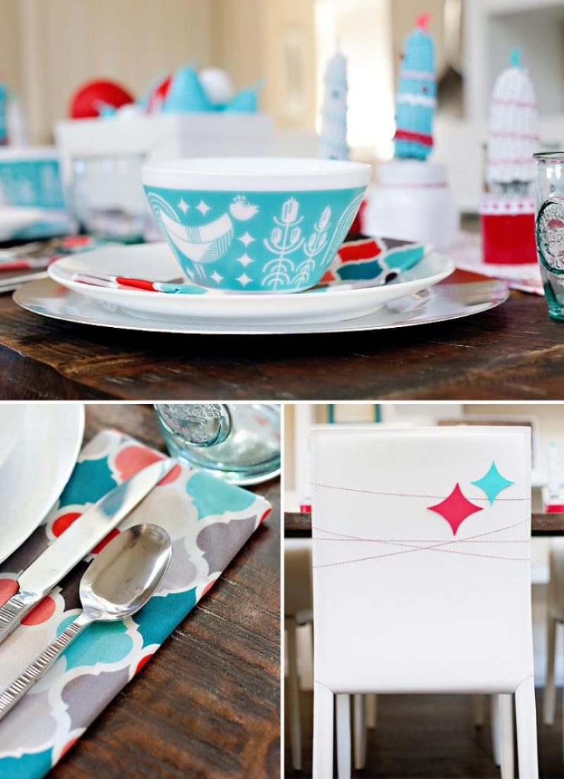 Red and Aqua Holiday Table