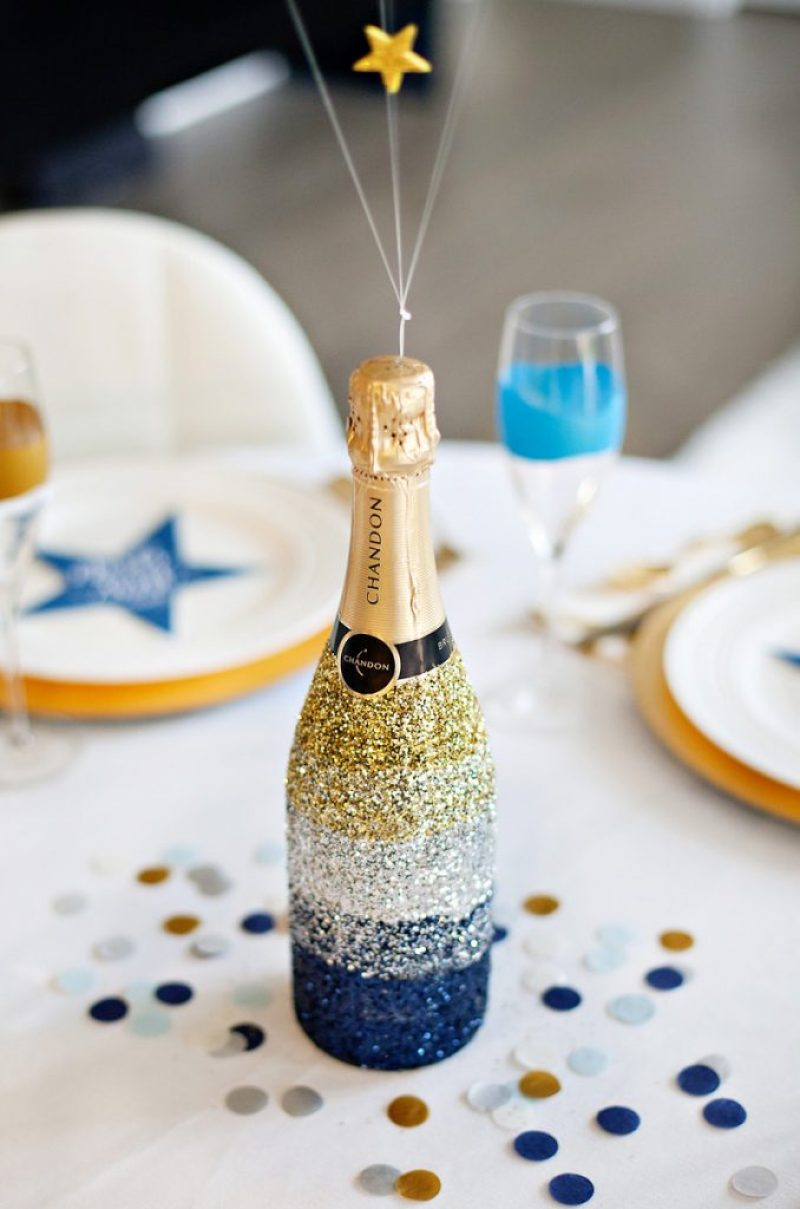 Ombre Glittered Champagne Bottle - Silver Gold Blue