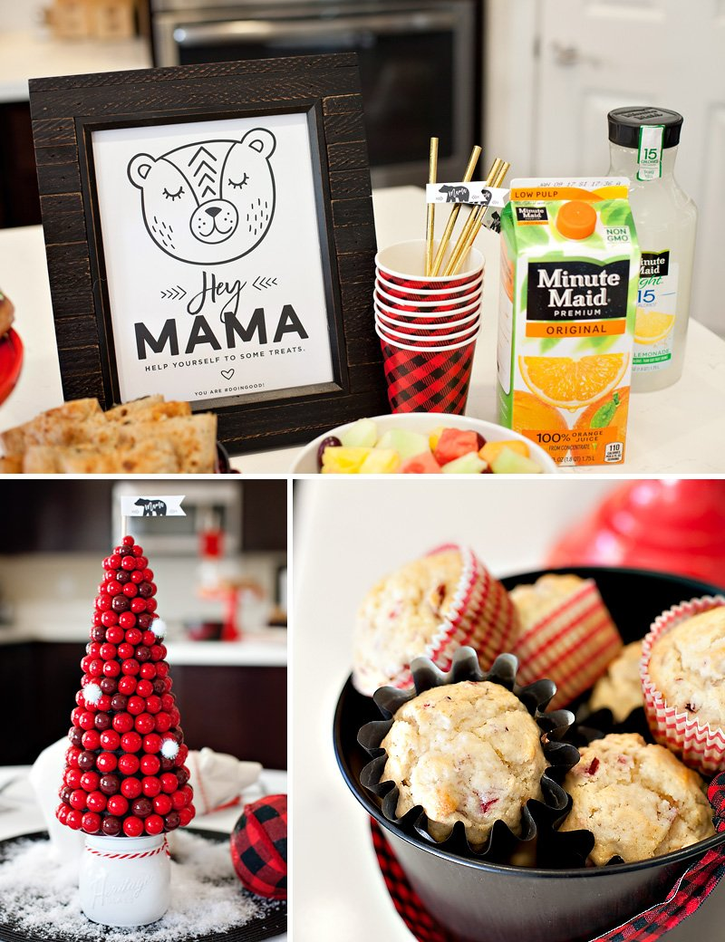 holiday mom brunch with cranberry orange muffins