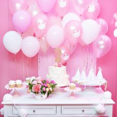 Pink and White Swans Birthday Party