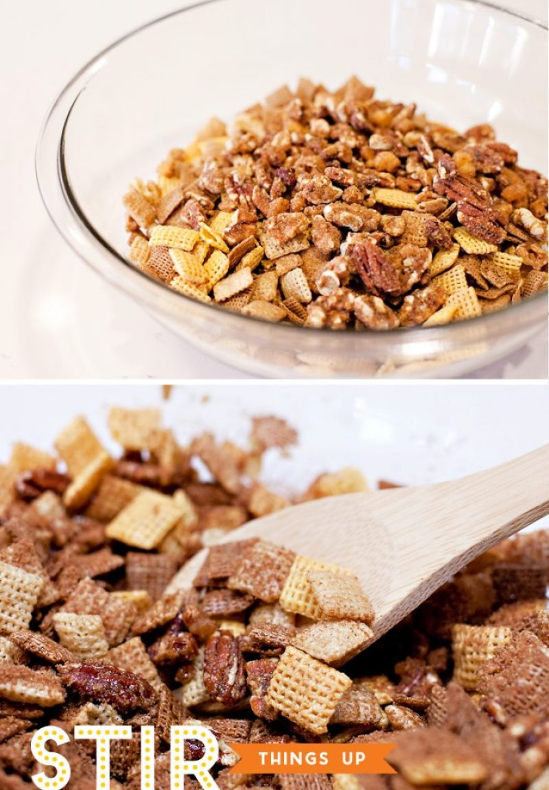 Mixing the Chex and Pecans