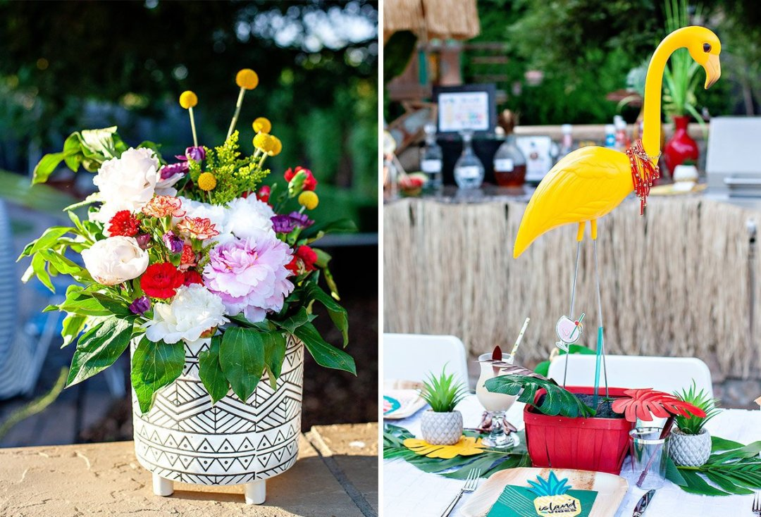 tropical flower and flamingo centerpiece