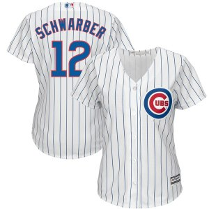 Women's Chicago Cubs Majestic White Home Kyle Schwarber Cool Base Player Jersey
