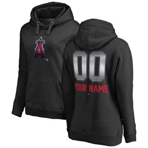 Women's Los Angeles Angels Fanatics Branded Black Personalized Midnight Mascot Pullover Hoodie