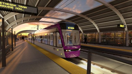 (Artist's rendering of planned Riverdale Park Purple Line station courtesy of Maryland Transit Administration.)
