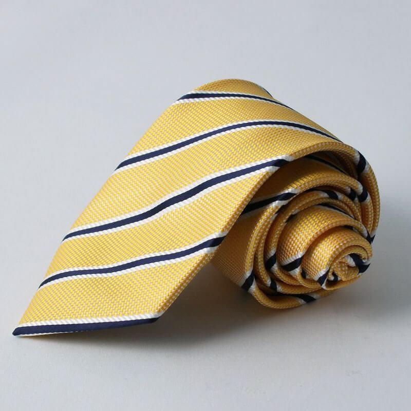 黄色 ネクタイ ストライプ