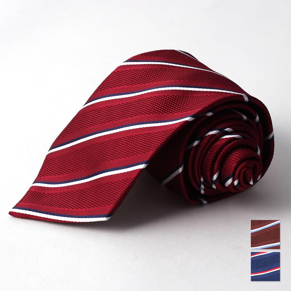 シルク混ネクタイ ストライプ 赤