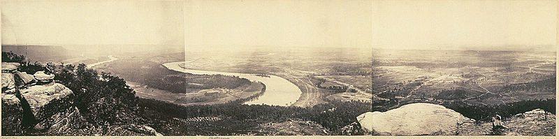 Panorámica de la montaña de Lookout en Tennessee. Febrero de 1864, por George N. Barnard.