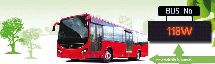 118W no Bus Route Hyderabad City Bus Timings, Route 118W Bus Stops, Frequency, 118W First & Last Bus