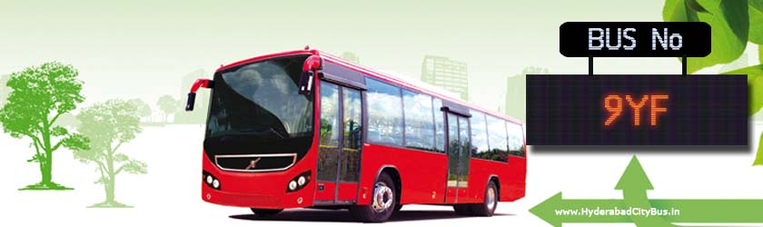 9YF no Bus Route Hyderabad City Bus Timings, Route 9YF Bus Stops, Frequency, 9YF First & Last Bus