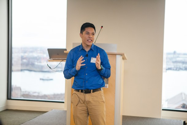 "Jonathan Vo, HSTF youth leader, presenting his piece ""The Bridge"" about identity at our 2015 Annual Making Change Happy Breakfast."