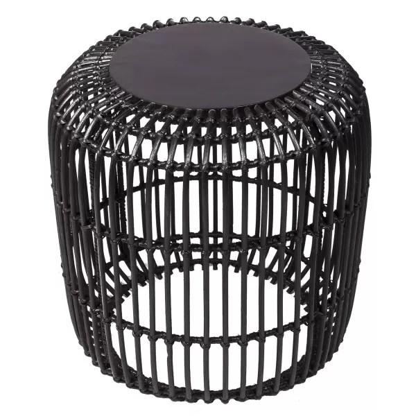 mel table de chevet ronde en rotin et bois d30