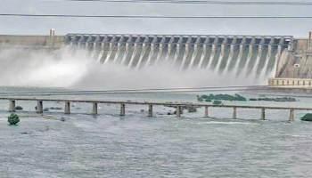 Officials Lift 3 Crest Gates At Nagarjuna Sagar Project