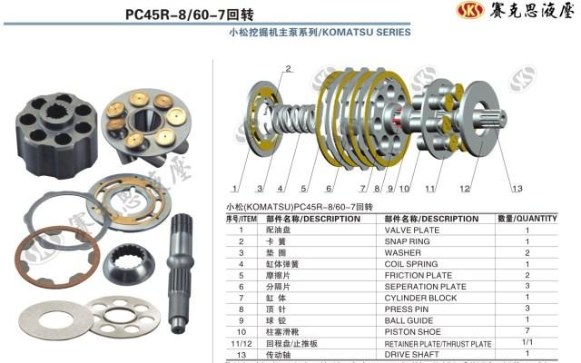 Запчасти к гидронасосам Komatsu серии PC45R-8/60-7 SWING MOTORS