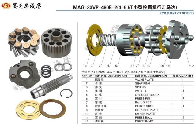 Запчасти к гидронасосам KAYABA и SUMITOMO серии MAG-33VP-480E-2 TRAVEL MOTOR