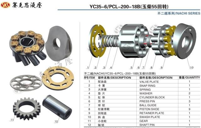 Запчасти к гидронасосам NACHI серии YC35-6/PCL-200-18B SWING&TRAVEL MOTOR