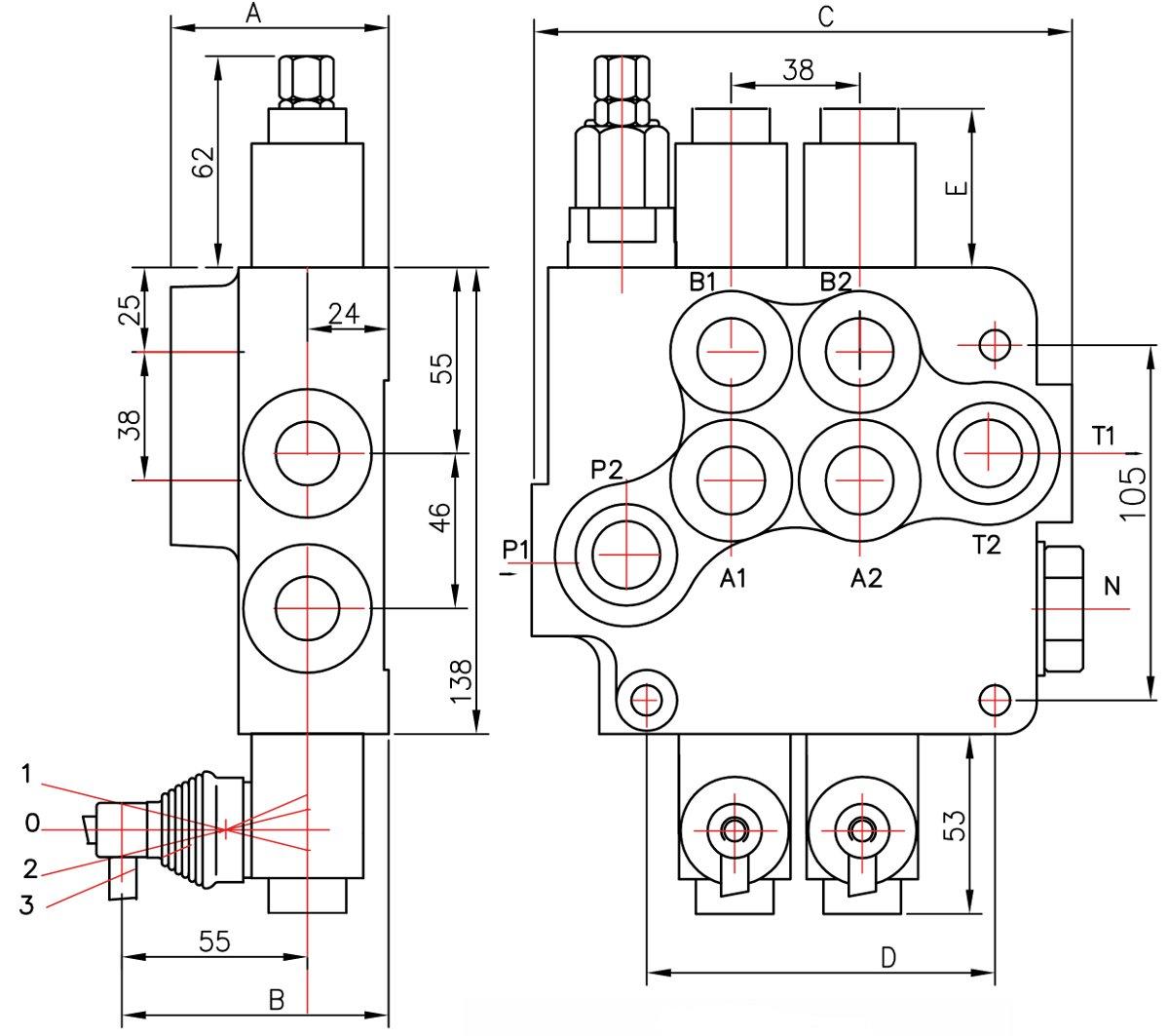 Distributeur 80 L Min Hydraulique Manuel Monobloc De 1 A 6