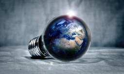 Energy Storage Solution - Lightbulb with globe - earth