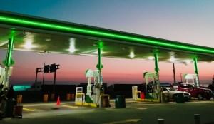 hydrogen refueling station explosion - gas station at dusk