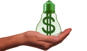 Green hydrogen research investment - Light bulb with dollar sign