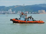hydrogen fuel push boat - image of tug boat in water