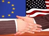European Green Deal - Handshake - EU and American Flags