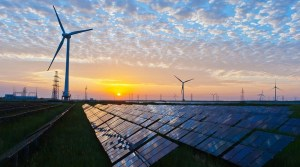 Solar and wind energy sites - wind turbines and solar panels