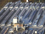 Solar powered factory - solar panels on roof of building