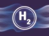 Hydrogen fuel storage - H2 on blue background