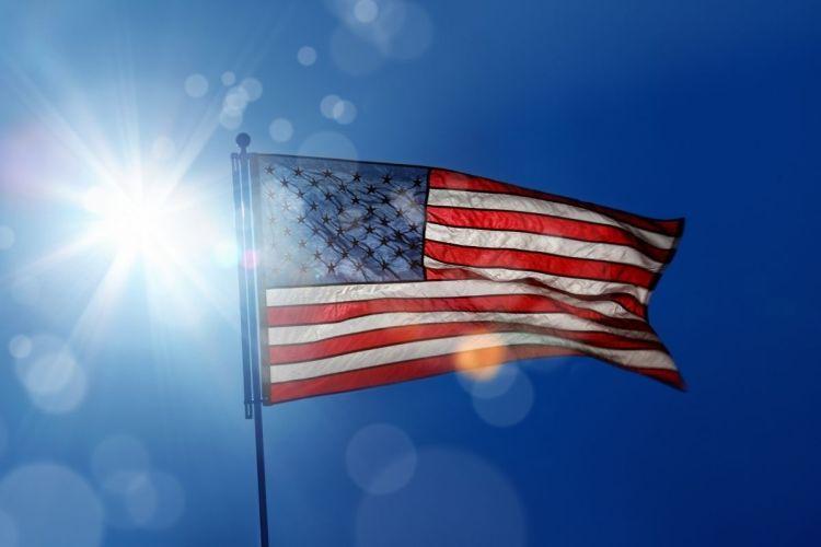 Solar energy - sun - American Flag