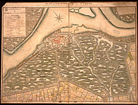 Map showing the strategic flooding of the Philippine area, southwestern Netherlands, in 1747 at the time of a French military attack.