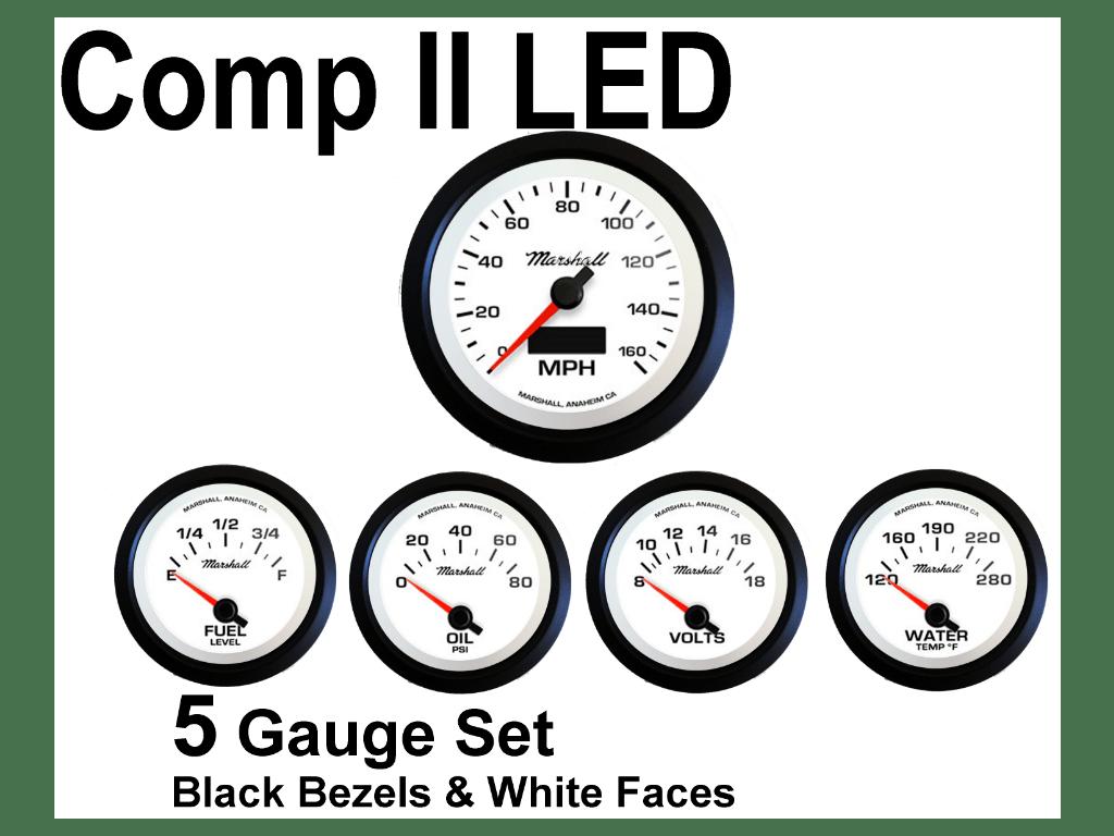 Comp Ii Led 5 Gauge Set White Face