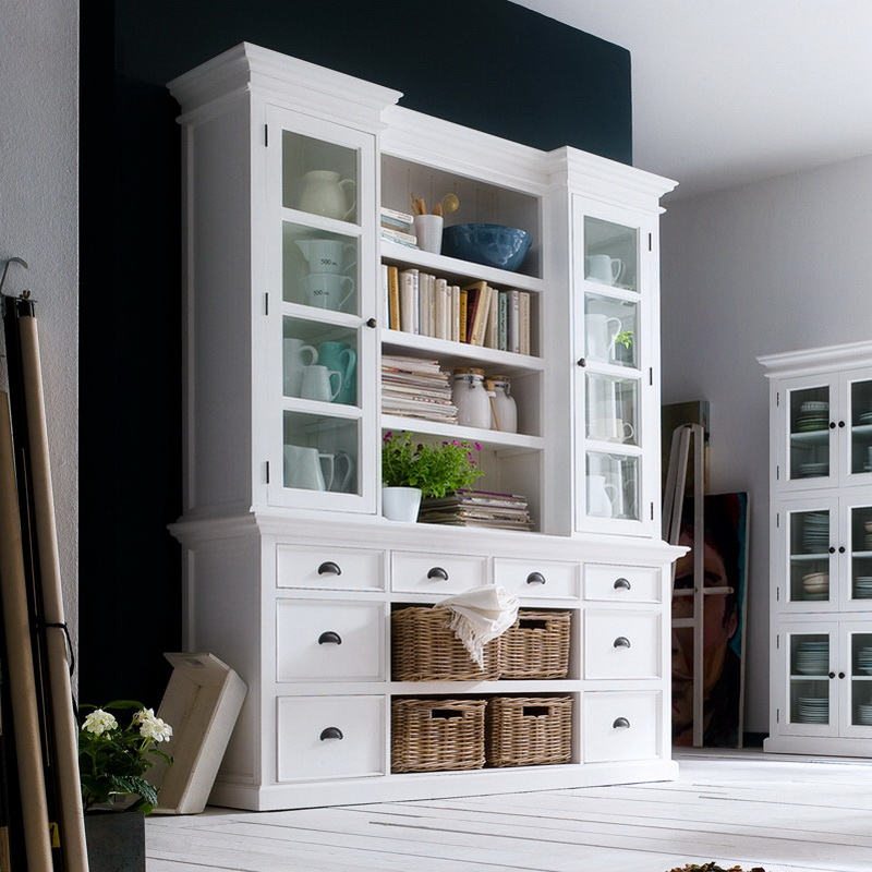 Halifax Library Hutch Unit with Basket Set