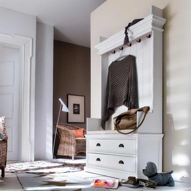 Entryway Coat Rack & Bench Unit w/ cushion + drawers