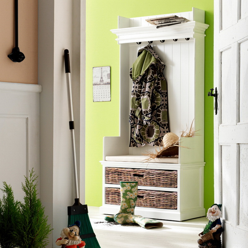 Halifax Entryway Coat Rack & Bench Unit with Cushion & Basket Set