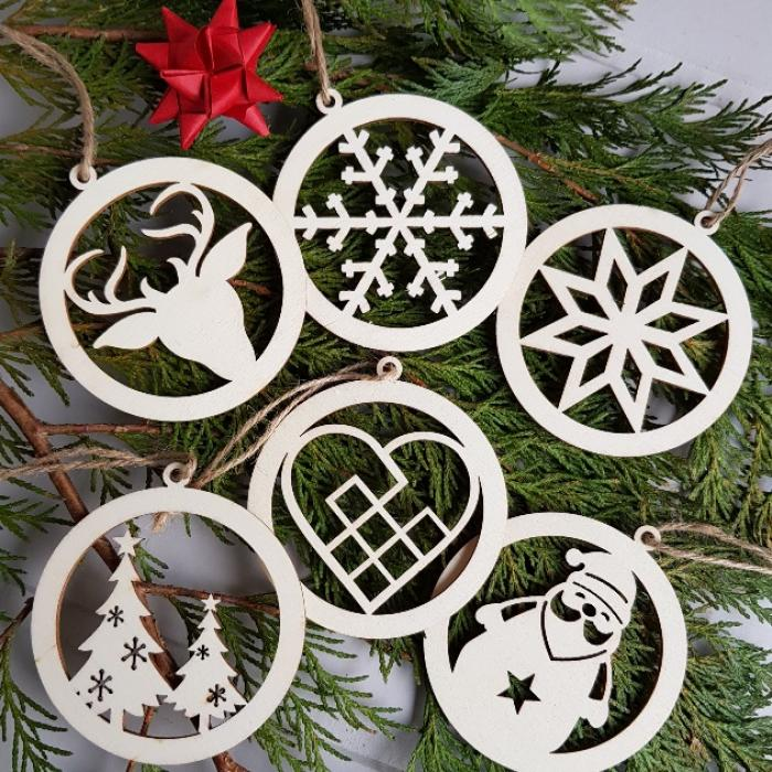 Set Of Six Danish Wooden Hanging Christmas Tree Ornaments Scandinavian Boutique Hyggestyle Co Uk
