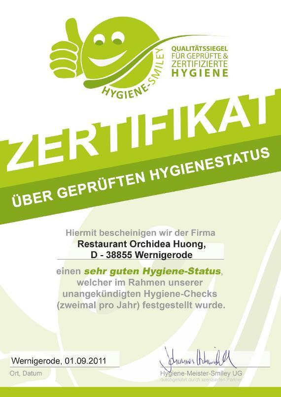Hygiene-Smiley Zertifizierung für das Restaurant Orchidea-Huong in Wernigerode