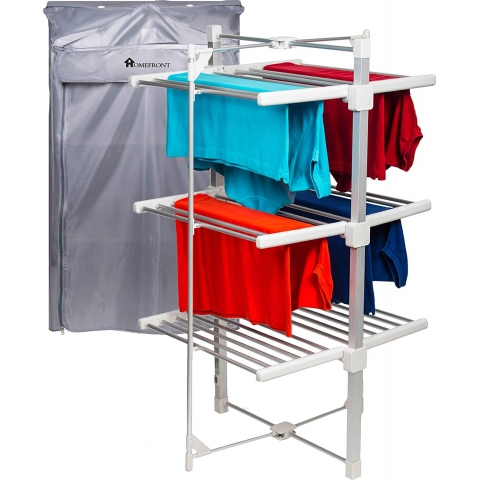 homefront electric heated clothes horse airer dryer rack with free cover