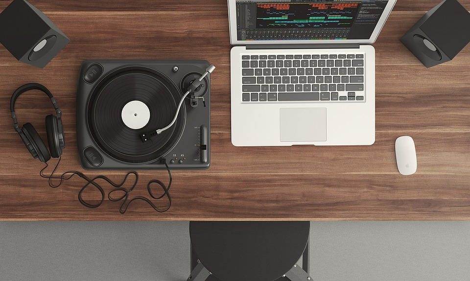 laptop and a DJ equipment